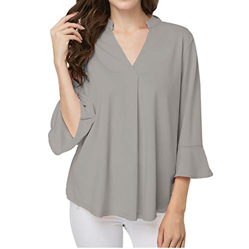 Plus Size Office Blouse Women V-Neck Solid Leaf Sleeve Blouse Tops Tunic Shirts MEEYA