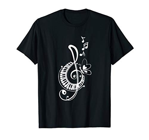Funny musical notation Notes Music Piano Butterfly Cute T-Shirt (Fool In The Rain Piano Sheet Music)
