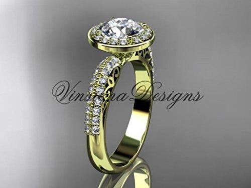 14kt yellow gold diamond Fleur de Lis engagement ring VD10057