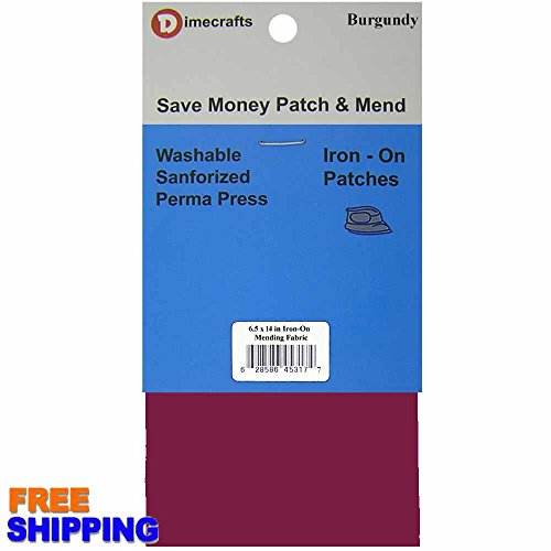 Iron-On 1 Piece Burgundy Mending Fabric 6.5 x 14 Inch, Compare to Bondex by RPDIYME