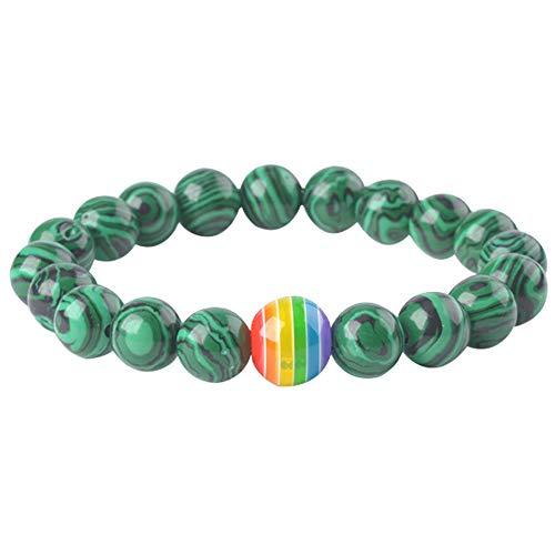 (Nanafast Rainbow LGBT Pride Beaded Bracelet Elastic Bead Waistband Jewelry Green Malachite)
