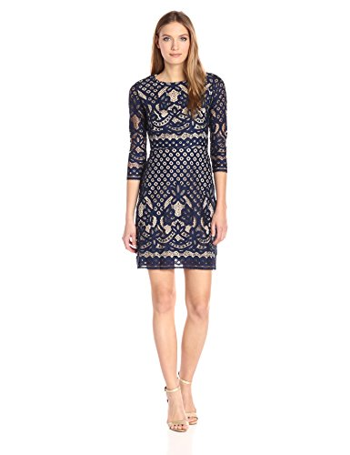 Gabby Skye Women's Long Sleeved Crochet Lace Fit and Flare Dress, Navy/Nude, 12