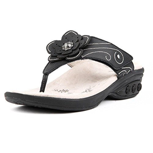 Therafit Julia Women's Leather Floral Adjustable Wedge Sandal - Black, Size 6 - For Plantar Fasciitis/Foot Pain by Therafit