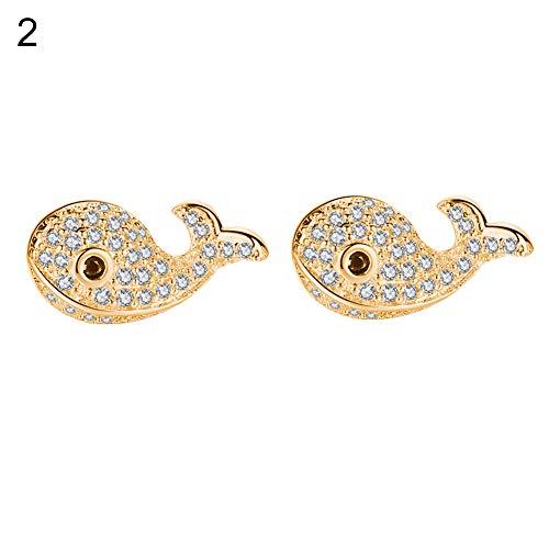 ady Creative Little Whale Pattern Ear Studs Shining Rhinestone Jewelry Earrings - Golden ()