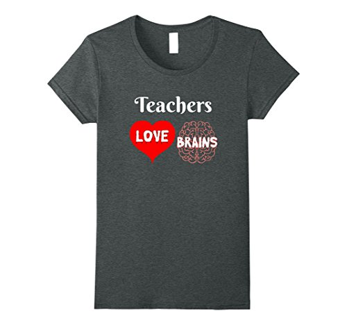 Womens Teachers Love Brains Cute Halloween Gift for Teachers XL Dark Heather