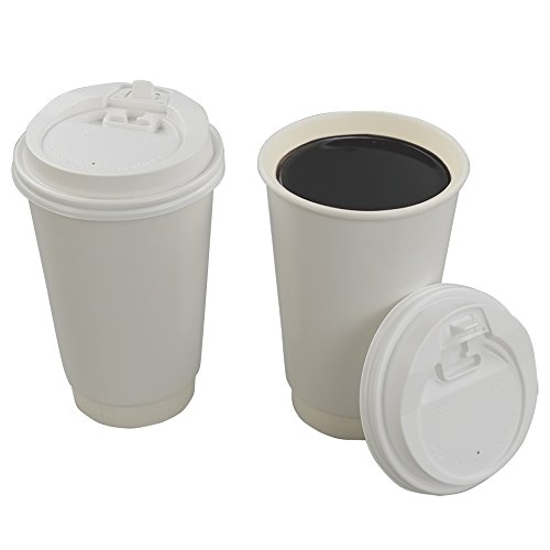 Saedy 16 oz Disposable Hot Coffee Paper Cups with Lids, 100 Counts by Saedy