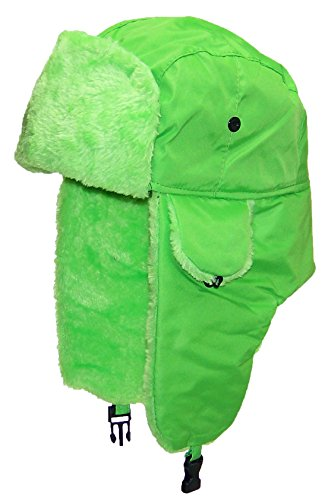 Best Winter Hats Lightweight Neon Russian/Trooper Faux Fur Hat(One Size)-Green