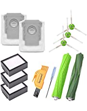 KEEPOW Replacement Parts for iRobot Roomba i7+ i7 Plus Vacuum Cleaner, 1 Set Multi-Surface Rubber Brushes, 2 Clean Base Bags, 3 Filters, 3 Side Brushes