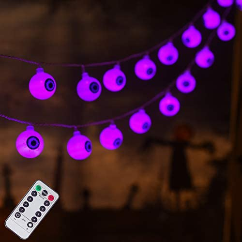 30 LED Halloween Eyeball String Lights, Battery Operated Halloween Fariy Lights, 8 Modes Halloween Lights for Outdoor Indoor Party Patio Halloween Decoration Purple