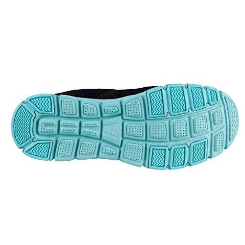 HSM - Zapatillas para deportes de interior para mujer negro y azul