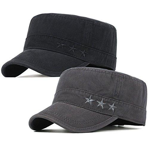 2 Pack Men's Cotton Military Caps Cadet Army Caps Vintage Flat Top Cap (Black/Dark Grey)