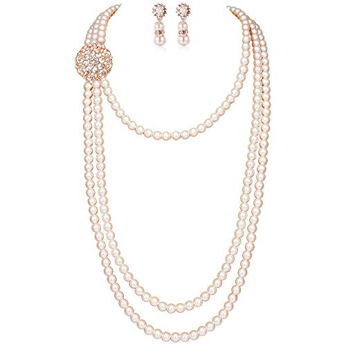 (BABEYOND 1920s Gatsby Pearl Necklace Vintage Bridal Pearl Necklace Earrings Jewelry Set Multilayer Imitation Pearl Necklace with Brooch (Style 1-Rose)