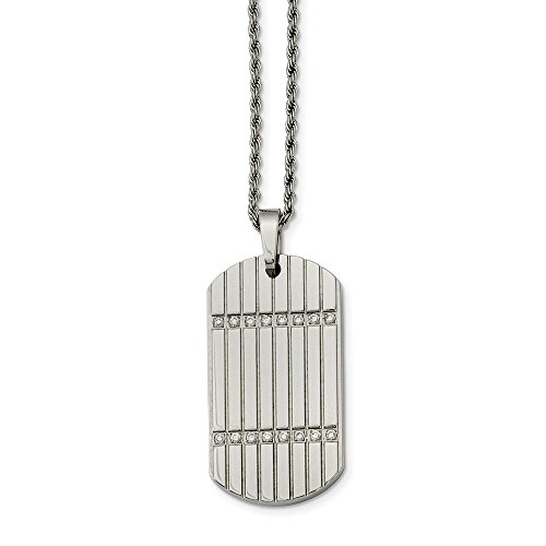 ICE CARATS Stainless Steel Cubic Zirconia Cz Dog Tag Pendant Chain Necklace Man Charm Dogtag Fashion Jewelry Gift for Dad Mens for Him ()
