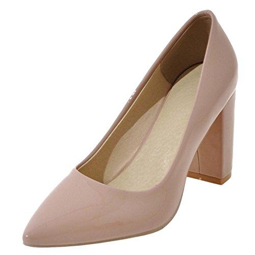 TAOFFEN Women's High Block Heel Pumps Shoes Apricot-15 DYAfjQ2G