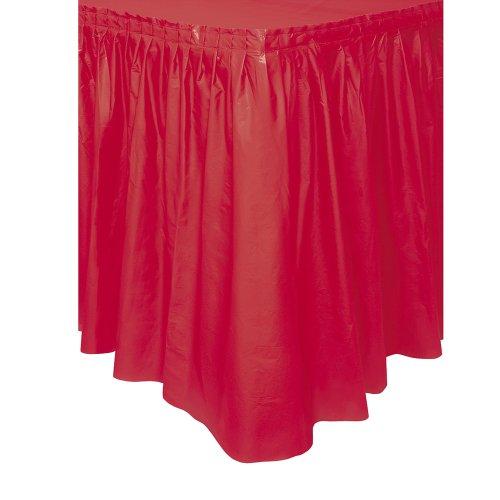 Plastic Red Table Skirt, 14ft