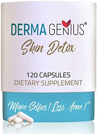 Best Acne Clear Skin Vitamins - Supplements for Adults & Teens, Women & Men: pimples, blackheads, Whiteheads, Oily Skin - Natural Pills for Hormonal and Cystic Acne - Derma Genius Skin Detox