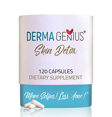 DERMA GENIUS Skin Detox- Best Hormonal Acne Detox Vitamin Supplement Treatment for Adults & Teens. 120 Natural Pills