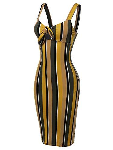 Made by Emma Stretch Sweet Heart Neckline with Self-Tie Stripe Sexy Dress Mustard Olive M