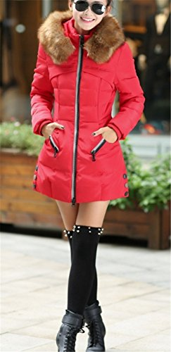 Jacket Outerwear Coat Long Hooded Overcoat Faux Red Down Parka Slim WLITTLE Fur Warm Winter Thicken Women's Ow6qx1xU