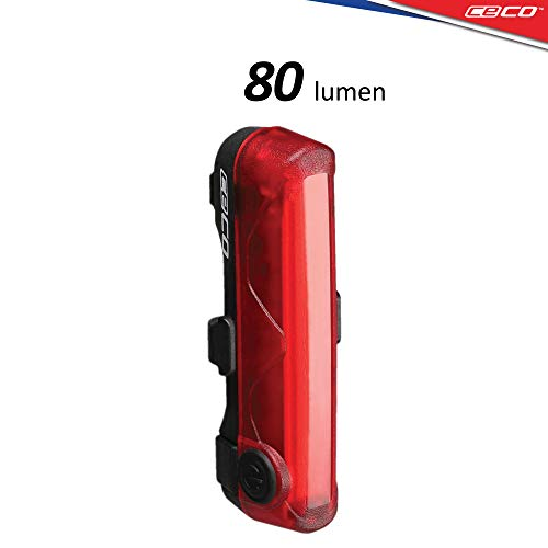 CECO-USA: 80 Lumen USB Rechargeable Bike Tail Light - Super Wide & Bright Model TC80 Bicycle Rear Light - IP67 Waterproof, FL-1 Impact Resistant - COB LED Red Safety Light - Pro Grade Bike Tail Light ()