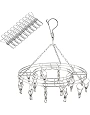 Clothes Drying Rack with 20 Clips + 10 Replacement, Stainless Steel Drying Hanger, Round Sock Dryer for Underwear Lingerie Drying Socks, Baby Clothes,Bras,Towel,Underwear,Hat,Scarf, Pants, Gloves
