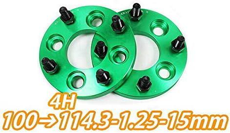 4H100→114.3変換 ワイドトレッドスペーサー 2枚組 1.25 15mm (緑)