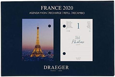 Draeger - Ephemeride Nachfüllpack Yvon France 2020 Agenda - 366 Tage und 366 Fotos - France 2020 Agenda in 7 Sprachen - Fotos von Serge Le Manour - FSC-zertifiziertes Mischpapier