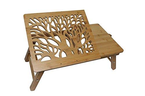 """Zora zr20bt 20"""" de largo 100% mesa para computadora portátil de bambú, color café"""