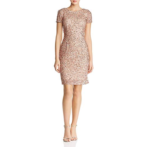 Adrianna Papell Women's Short Sleeve Sequin Cocktail Dress with Scooped Back, Rose Gold, 8 from Adrianna Papell