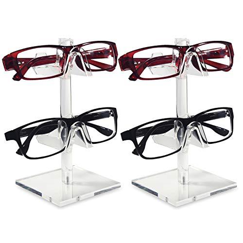 Eyeglass Frame Material - Mooca 2 Piece Acrylic Eyeglasses Frame Riser Display Stand (2 Frames for Each Holder)