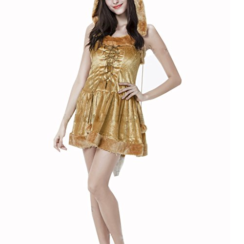 [RedExtend Women's Halloween Fox Gold Mini Dress Comic-con Cosplay Costume] (Best Womens Comic Con Costumes)