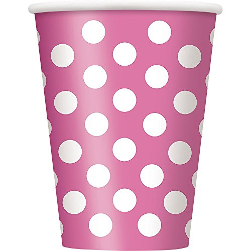 Hot Pink Dots 12Oz Cups (6 Pack) - Party Supplies