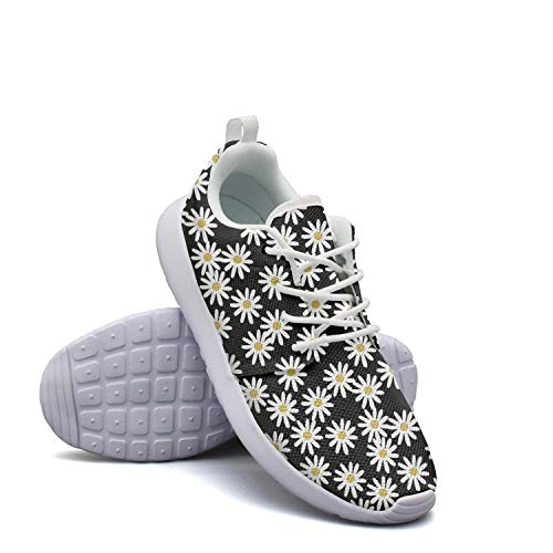 Casual Ladies Lightweight Mesh Shoes Daisy On Black for sale  Delivered anywhere in USA