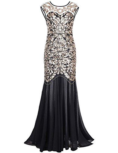 kayamiya Women's 20s Beaded Floral Maxi Long Gatsby Flapper Prom Dress L Gold