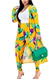 MarcoJudy Womens Long Sleeve Stripe and Floral Cardigan Cover up Long Pants 2 Piece Suit Set Outfits (XX-Large, Yellow and Purple)