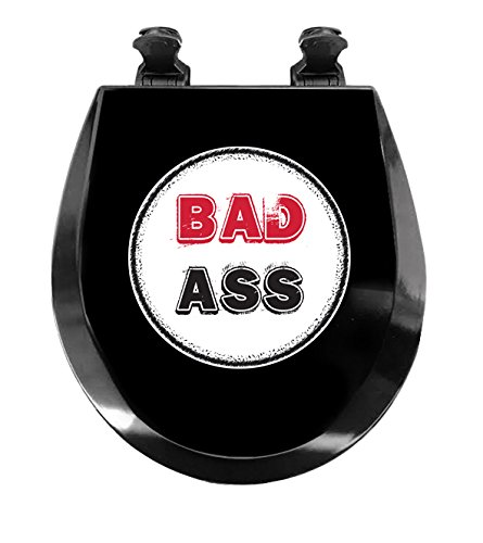 New Black Molded Wood Round Toilet Seat featuring Bad Ass - Ass Hinges Bad