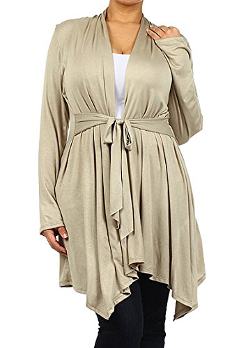 Essential Plus Size Solid Knit Tie Waist Asymmetrical Waterfall Cardigan Sweater (2XL, Light Olive)