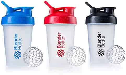 Blender Bottle Classic Loop Top Shaker Bottle, 20-Ounce 3-Pack, Blue Red Black, Blue and Red and Black, 20oz