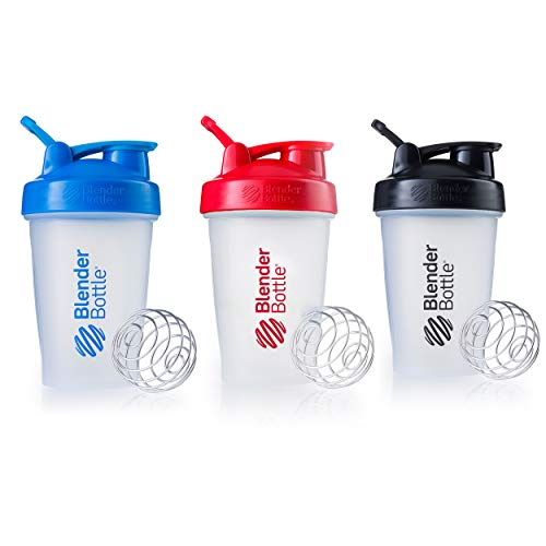 Blender Bottle Classic Loop Top Shaker Bottle, 20-Ounce 3-Pack, Blue Red Black ()