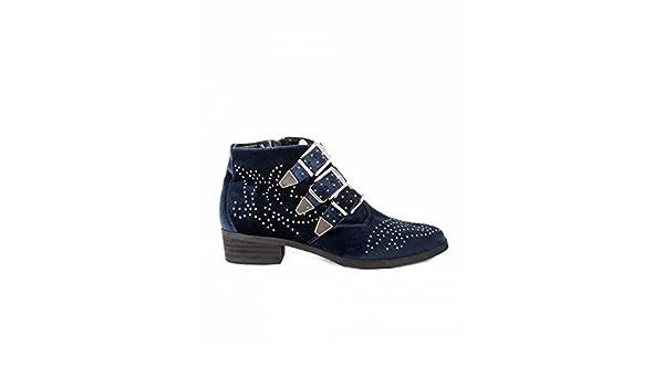 Botines Tachuelas y Hebillas Terciopelo PERA LIMONERA - Color - Marino, Talla Zapatos Mujer - 35: Amazon.es: Zapatos y complementos