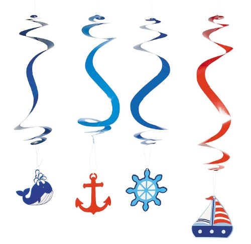 Nautical Dangling Swirl Party Decorations - 12 ct -