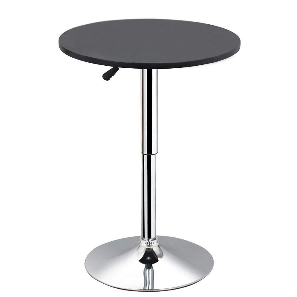 "go2buy Black Round Pub Table Outdoor/Indoor Swivel Pedestal Bar Table Adjustable 27.4-35.8"""