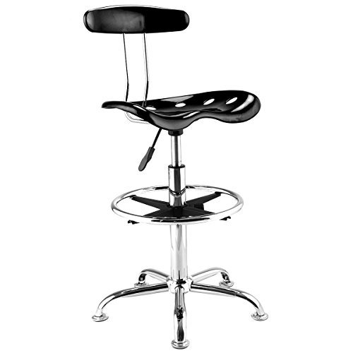1PC Adjustable Bar Stools ABS Tractor Seat Kitchen Drafting Chair Black (Wicker Bar Stools For Less)