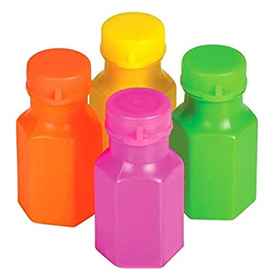 Rhode Island Novelty 1.75 Inch Neon Bubble Bottles, Pack of 48: Toys & Games