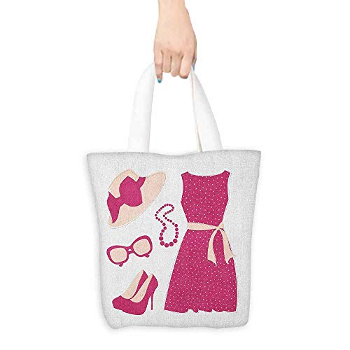 - Reusable Shopping Grocery Bags,Fashion Pastel Colored Dress Hat with a Ribbon High Heels and Necklace Woman Clothing,Canvas Shopping Beach Cloth Tote,16.5