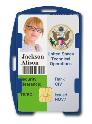 Blue RFID Blocking ID Badge Holder (Holds 2 Cards) - SkimSAFE FIPS 201 Approved - Dual Sided Shield Blocks 13.56MHz Radio Signal - Specialist ID