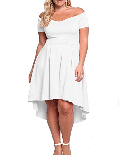 XAKALAKA Women\u0027s Plus Size Off Shoulder Pleated High Low Maxi Wedding  Cocktail Dress