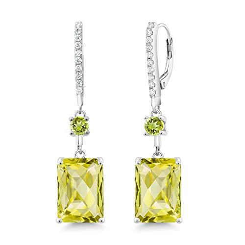 - Gem Stone King 14.60 Ct Octagon Checkerboard Yellow Lemon Quartz Green Peridot 925 Silver Earrings
