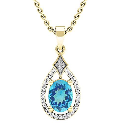 Dazzlingrock Collection 14K 8X6 MM Oval Blue Topaz & Round Diamond Ladies Pendant (Gold Chain Included), Yellow Gold ()