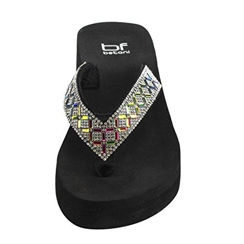 Betani Fh65 Womens Glitter Brillantini Con Zeppa In Strass Stile Zeppa Lustro